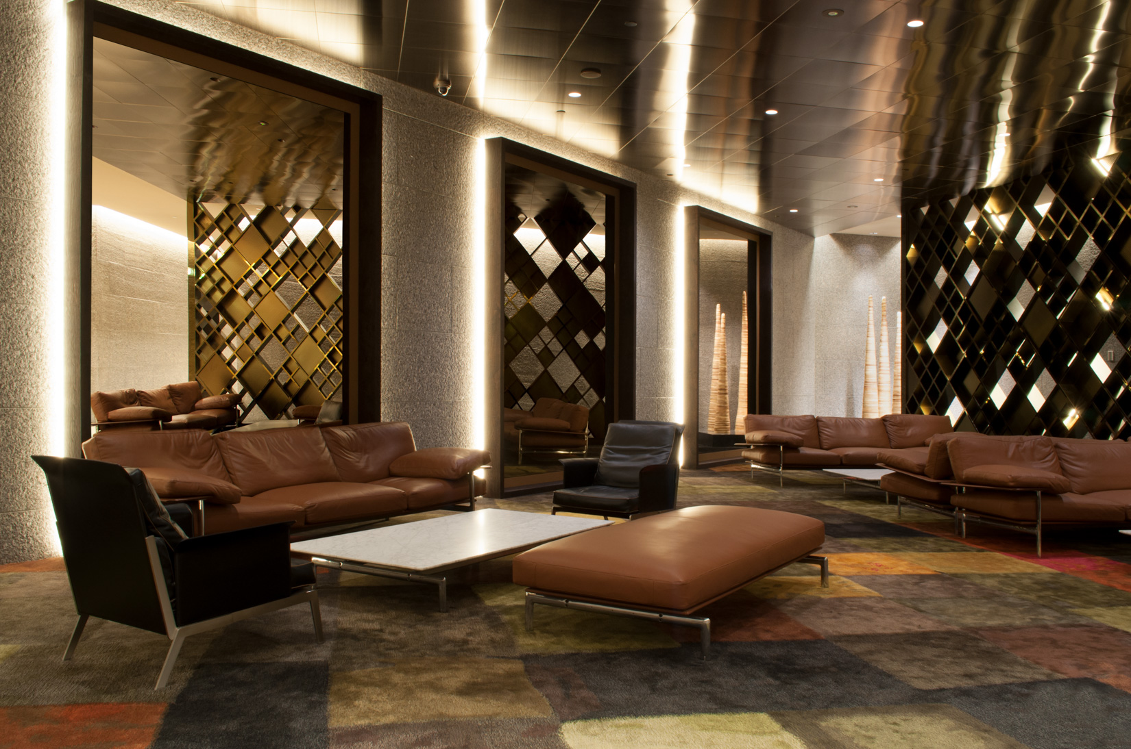 An opulent refurbishment, by ISM Interiors, of the ground floor entrance to the AMP Capital building in Melbourne's CBD.