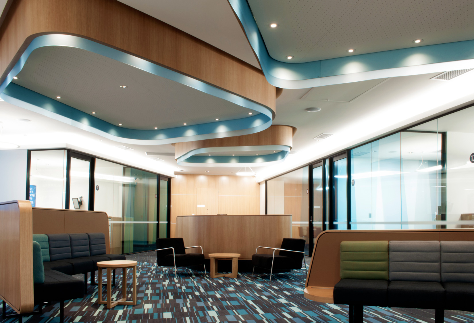 Custom commercial joinery works completed by ISM Interiors for the ANZ Camberwell branch