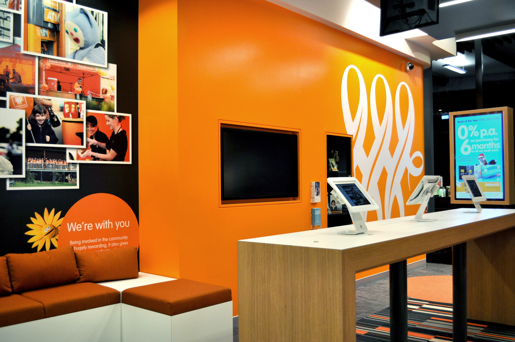 Commercial joinery and fit out by ISM Interiors for Bankwest, Highpoint
