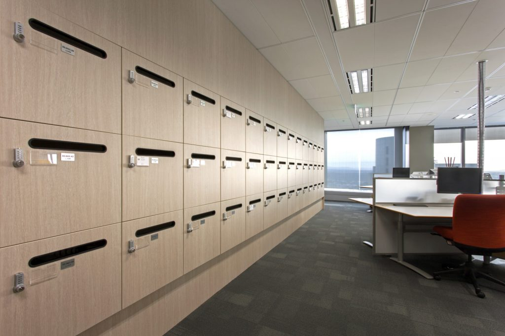 ISM Interiors built 1,850 custom locker banks, each one unique from the next, for the Ernst & Young office.