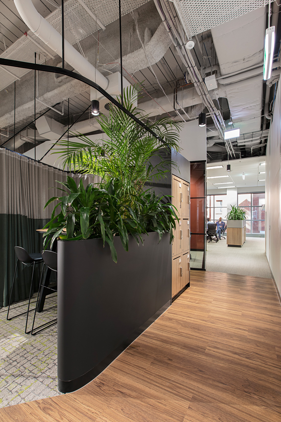 Melbourne office fit out, custom joinery and lockers created by ISM Interiors for JLL