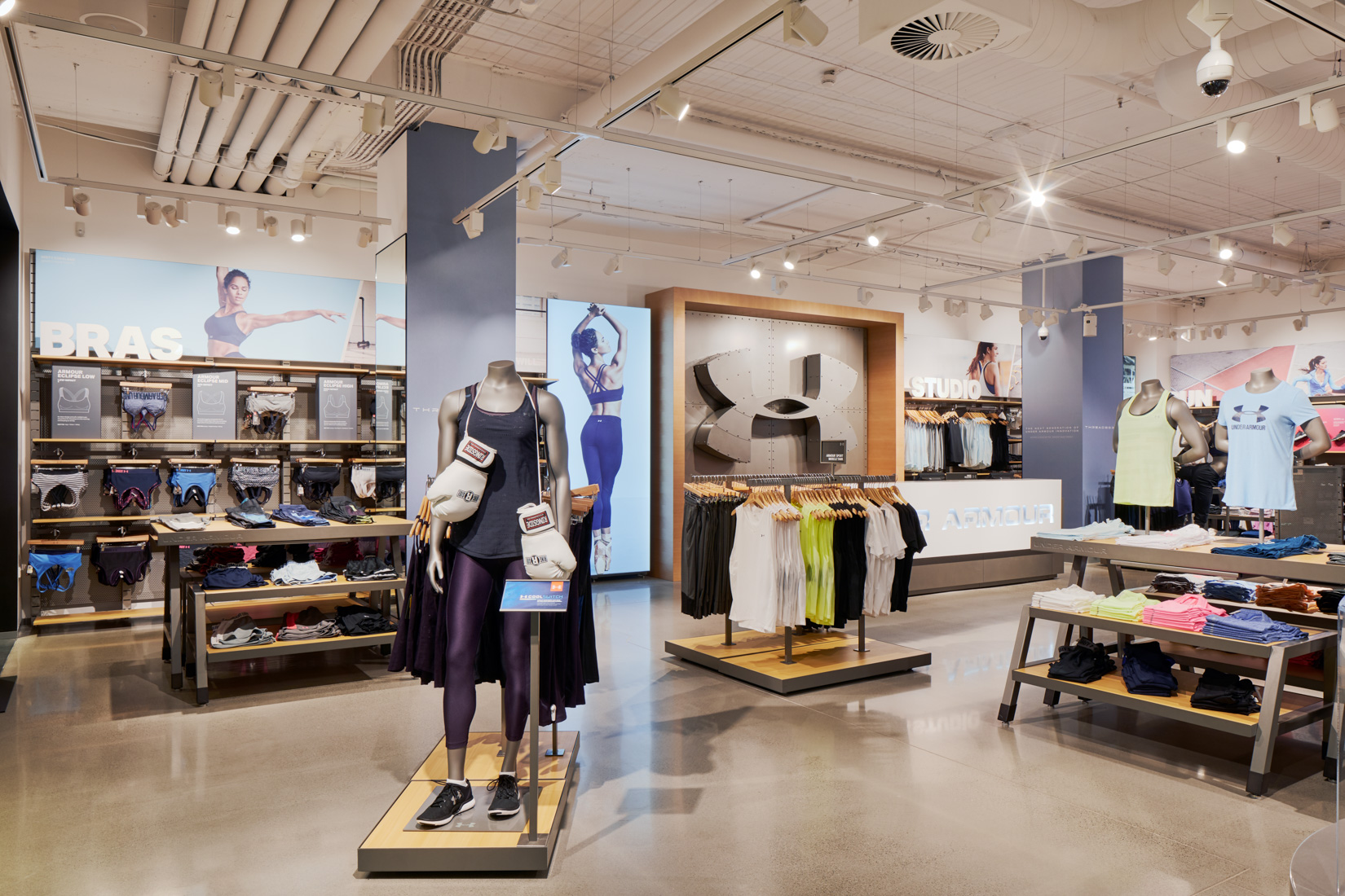 The latest shop fit out for Under Armour in Melbourne's Chadstone shopping centre created by ISM Interiors