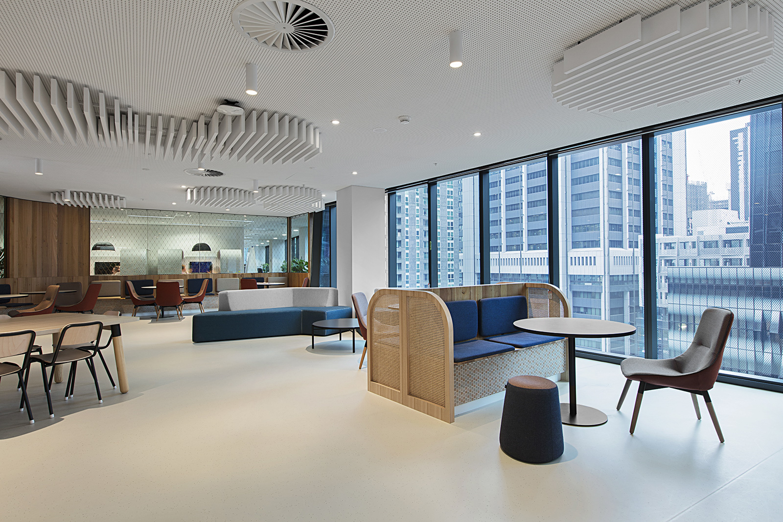 The WorkSafe office fit out by ISM Interiors featuring custom joinery and curved furniture.